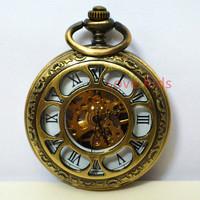 2 Side Case Open Vintage Bronze Copper Flower Face Hollow Turbine Skeleton Men Women Self-wind Mechanical Pocket Watch +Chain