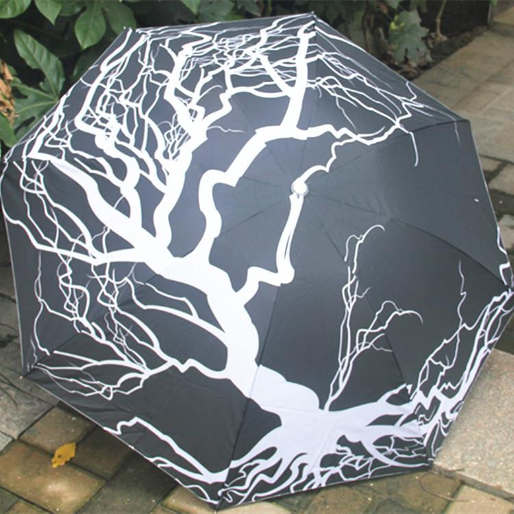 Atacado, varejo cinza e branco ramo de árvore da arte da pintura a óleo impressão guarda-chuva anti chuva sol UV guarda-chuva dobrável novidade(China (Mainland))