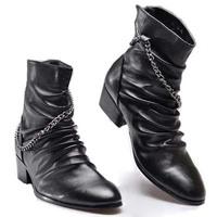 Fashion Winter Men Warm Genuine Leather Boots Mid-Calf Basic Heel Martin Boot Fur Lining Metal Chains Black 1 Pair Free Shipping