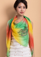100% Imitated Silk Material Lady popular kerchief scarves shawl  with Printing fashion scarf for Autumn and Winter 1pcs