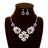 Fashion simulated pearl necklace and earrings sets brand jewelery for women accessories rhinestone jewelry