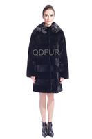 Female Natural Full Pelt Rex Rabbit Fur Jacket Coat Casual Overcoat Winter Women Fur Outerwear Coats Lady Parka QD80172