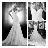 MANSA Sexy Sweetheart Open Back Sheer Lace Mermaid Wedding Dresses 2014 Sleeveless Court Train Trumpet Bridal Gown Fashiopnable