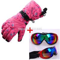 Free shipping women winter outdoor snow sports ski Kits set waterproof warm skiing gloves windproof snowboard skiing goggles