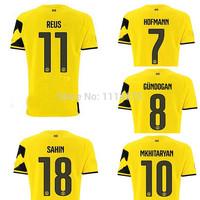 Thailand quality kits 14 15 Borussia Dortmund Soccer Jersey REUS GUNDOGAN SAHIN home football shirt BVB yellow soccer uniforms