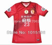 Top thai quality 2014 2015 Guangzhou evergrande soccer jersey red,Free Shipping evergrande 23# DIAMANTI Sports clothing shirts