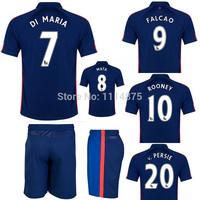 MU kits14 15 Premier League soccer jerseys+shorts DI MARIA FALCAO 3rd away football shirts ROONEY V.PERSIE blue soccer uniforms