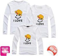 11.11 BIG SALE 1 piece retail smile family sets love mum dad kid t shirt parent-child clothes brand quality PANYA QCX05