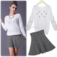 2014 autumn winter casual dress white sweater tops + plaid mini skirt women vestidos suit S9395 Free Shipping