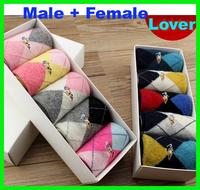 Rabbit wool female male socks autumn and winter socks thickening winter socks 5 pairs lovers gift box packing