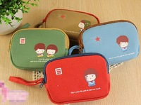 Free shipping 14 hot sales Korea cute captain kid double zipper Canvas Wallet zero / key bag