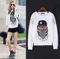 2014 New winter coat Fashion pullovers Plus Size Cute girl sweater Owl Printed Hooded Sweatshirt Hoodies Women top