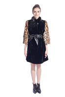 2014 Fashion Natural Full Pelt Rex Rabbit Fur Coat Jacket Winter Women Fur Outerwear Leopard Coats Mandarin Collar 6XL QD80167