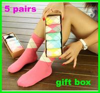 Gift box set  thin four seasons women cute socks knee-high female socks 100% cotton free shipping