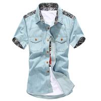 2014 2015 Freeshipping Summer New High Quality Fashion Denim Shirt Men Men's Short Sleeve Shirts 5z