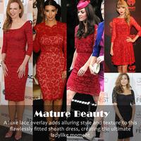Slim Lace Dress Hotsale Princess Kate Style New Vestido De Renda Curto Elegant Red Short Sleeve Hollow Lace Plus Size Dress XXL