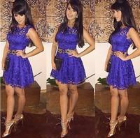S-XL 2014 new European and American Slim sleeveless dress party elegant purple lace mini sexy dress#MD226