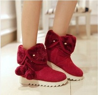 2014 Size 34-39 New Women Winter Fashion Flock Fur Ball Top Mid-Calf Boots Students Sweet Snow Boots