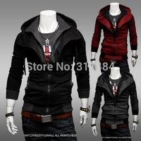 Brand New Hot Fashion cheap men's Sexy Slim Fit Sweatshirt Hoodies Hooded Casual Coat Outwear Jacket / 3 color / double zipper