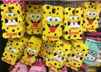 Wholesale 10Pcs/Lot Spongebob Squarepants Cartoon Silicone Cover Back Phone Case For Samsung i9500 Galaxy S IV S4