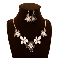 Fashion enamel flower pendant necklace and earrings jewelry sets brand for women accessories wholesale