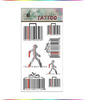 "Free Shipping ""Funny Barcode"" Temporary Tattoo Body Art Tattoos"