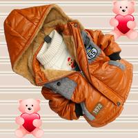 2014 Fashion Children Stitching cotton-padded jacket kids Plus velvet thickening overcoat,Baby outerwear boy's 1972 wadded coat