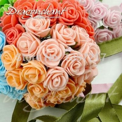 Sale!!! 20mm Head Multicolor PE Rose Foam Mini Flower Bouquet Solid Color/Scrapbooking Artificial Rose Flowers(72pcs/lot)(China (Mainland))