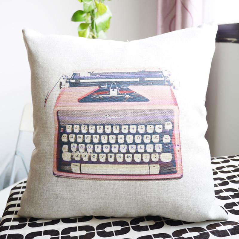 nova 2014 máquina de escrever retro clássico design sofa decorativo& fronhas capa de almofada/fronha/assento capa de almofada(China (Mainland))