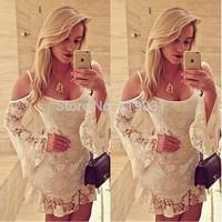 women offshoulder white lace dress vestidos de venda