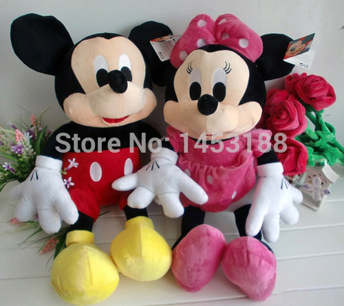 New Arrival !!! One Pair Lovely Mickey Mouse And Minnie Mouse Stuffed Soft Plush Toys High Quality Gifts Animals(China (Mainland))