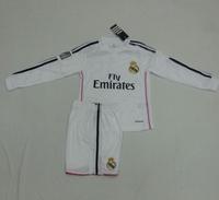 Youth 14/15 Real Madrid home Long Sleeve Jerseys  Ronaldo  bale  JAMES white LS shirt 2014/2015 Cheap kids Soccer Football kit