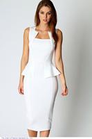 roupas vestido de festa Women Summer Dress Sleeveless knee length pencil Midi Bodycon Dress in (Blue Black white)