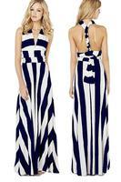 New 2014 women Dress Backless Dresses Bohemian style multi-way dress Versatile Straps Black White Stripe Maxi Dress LC6700