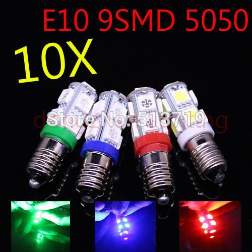 10X E10 9smd 5050 screw-socket bulb mini lamp bulb Led Bulb 12V DC 2W free shipping(China (Mainland))