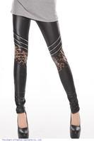 Fashion Women pants adventure time Fitness Sexy Slim Shiny Black Chic Leopard Knees Leggings punk LC79273 free shipping