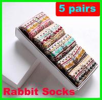 5pairs/pack polka dot rabbit 100% cotton knee-high gift box set women/girl/lady/female socks