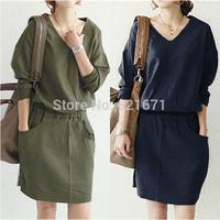 2014 Summer/Autumn New Women Casual Vintage Fashion Long Sleeve Loose Linen Dresses S/M/L/XL/XXL/XXXL Plus Size