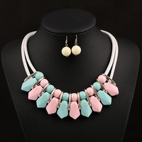 Charm wedding beads jewelry sets for wedding women resin necklace & earrings set bridal accessories wholesale