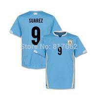 A+++ Top Thailand Quality Uruguay Thai 2014 Home Jersey soccer shirt SUAREZ 9# Brand Logo Thai Shirt