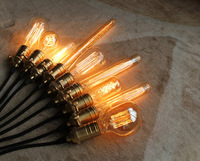 A set of 10 RARE Vintage style lamp Edison light Copper UL socket with bulbs - black cloth cloths wire