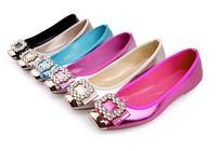 New spring Soft leather fashion metal square diamond design women flat shoes