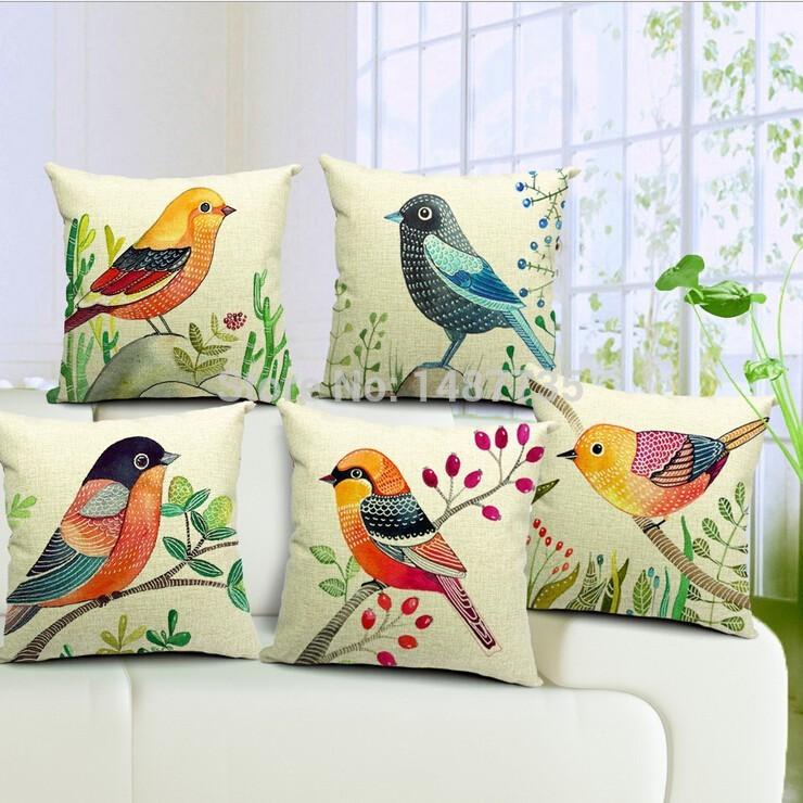 Bonito e encantador série aves casos capa de almofada travesseiro fronha 45 x 45 cm fronha para e escritório(China (Mainland))