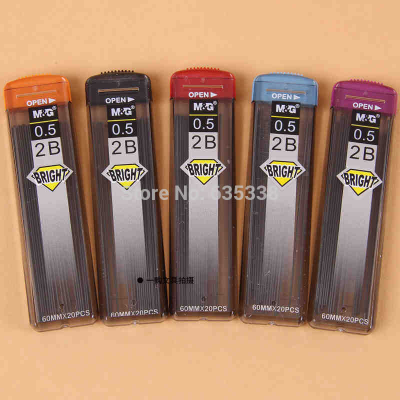 M&G SL-301 20pcs 2B Blcak lead refills 1 tube with case for 0.5mm mechanical pencil(China (Mainland))