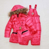 Free Shipping! 2014 Fashion Child winter cotton-padded jacket super warm unisex child ski suit set outerwear winter down coat