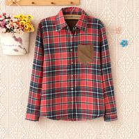 2014 new 100% cotton women's clothing british style fashion turn-down collar long-sleeve plaid shirt corduroy women shirt