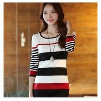 Free Shiping 2014 Autumn Winter New Korean Style Fashion Casual Long Sleeve Stripe Knitted Thin Sweater Pullover For Women