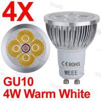 4pcs GU10 LED 4W 220V Warm White Spot Down Light LED Bulb Lamp 2800K 320Lm