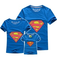11.11 BIG SALE retail summer tee superman family t shirt short sleeve kids shirt dad mom baby clothes high discount Masha QDX01