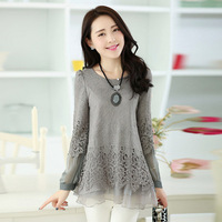 2014 New Hot Fashion Women Tops Openwork Crochet Lace Ladies Round Neck Chiffon Shirt Plus Size Ladies Blouses